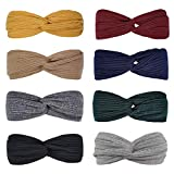 Huachi Headbands for Women Knotted Boho Stretchy Hair Bands for Girls Criss Cross Turban Plain Headwrap Yoga Workout Vintage Hair Accessories, Solid Color, 8Pcs