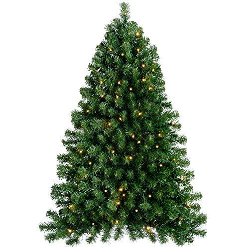 WeRChristmas Pre-Lit Wall Mounted Christmas Tree with 80 Warm White LED Lights - 4 feet/1.2 m, Green