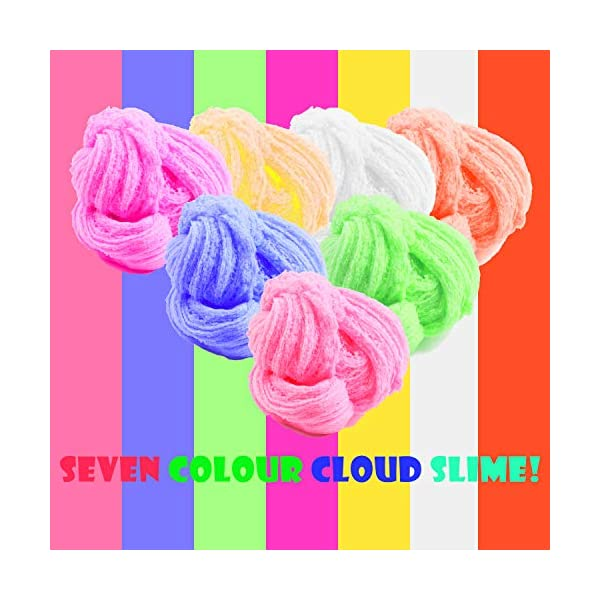 Unicorn Slime Kit for Girls to DIY Cloud Slime Kit Supplies Stuff Include 7 Colors Cloud Slime, Unicorn Toys, Colorful Foam Balls, Candy Cakes, Fruit Slices, Stars, Rainbow, Milk Bottle, Glitter Pack. 7