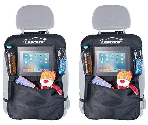 Lescars Autorücksitztasche: 2er-Set Kfz-Rückenlehnen-Organizer mit extragroßem Tablet-PC-Fach (Auto Rückenlehnenschutz)
