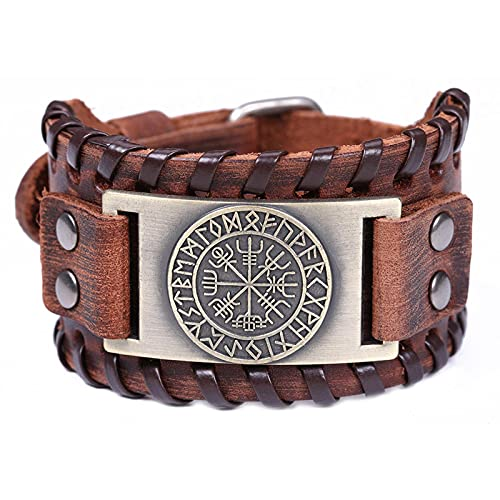 Genuine Leather Bracelet For Men Bangle Compass Tree Of Life Wolf Wristband Amulet Wicca Jewelry Talisman Gifts