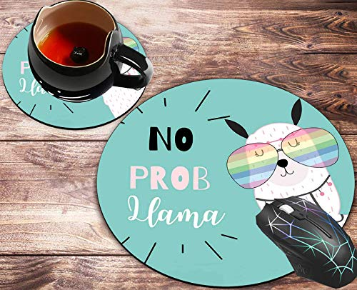 Round Mouse Pad and Coasters Set, Llama with Glasses Motivational Quote Mousepad, Anti Slip Rubber Round Mousepads Desktop Notebook Mouse Mat for Working and Gaming