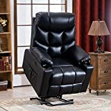 RELAXIXI Power Lift Recliner Chair, Electric Recliners for Elderly, Heated Vibration Massage Sofa with USB Ports, Remote Control, 3 Positions, 2 Side Pockets and Cup Holders (Faux Leather, Black)