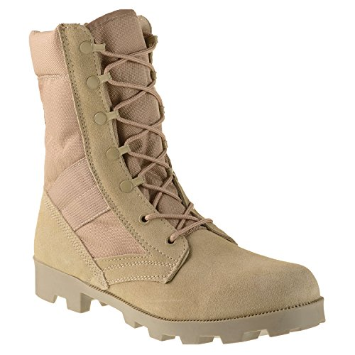 Ameritac 9″ Side Zip Suede Leather Combat Work Outdoor Men's Desert Tan Boots Size 9