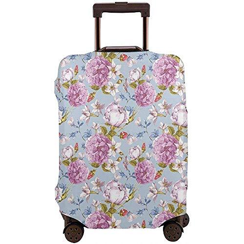 Reisegepäckhülle Retro Komposition Mit Pfingstrose Narzisse Und Wildblumen Rosenknospen Brautstrauß Koffer Schutz Größe L