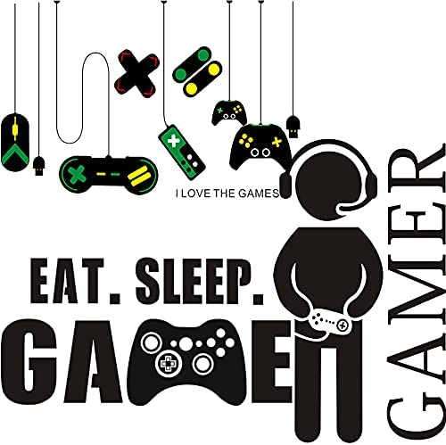 """Gamer with Controller Wall Decal, Game Boy Decal Wall Sticker, Vinyl Art Design Sticker Wall for Home, Playroom Bedroom Decoration Wallpaper (23.6"""" x 15.8"""")"""