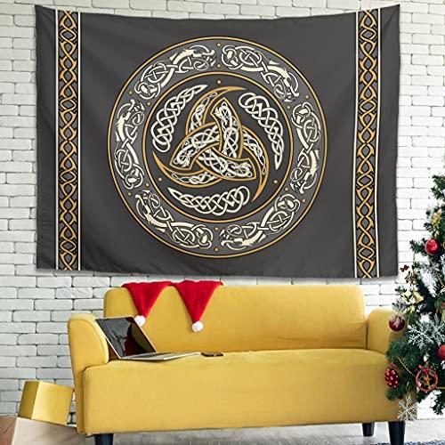 YCNJJB Tapiz triple cuerno de Odin Viking Vintage Tapices de pared – Mantas de picnic para sala de estar blanco 79 x 59 pulgadas