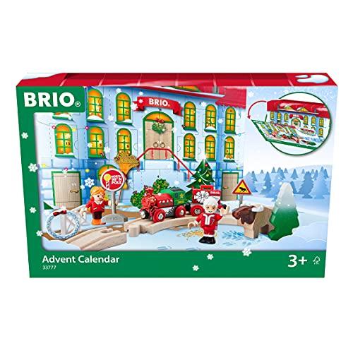 BRIO World 33777 Adventskalender 2021 - Spaß und Spannung in der Vorweihnachtszeit mit der BRIO Holzeisenbahn - Empfohlen ab 3 Jahren