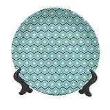 Piatto decorativo da appendere in ceramica astratta da 15,2 cm, cerchi geometrici e strisce ondulate, stile antico, decorativo in ceramica, per tavolo da pranzo, catering