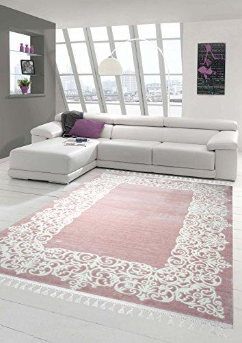 Designer Teppich Moderner Teppich Wollteppich Bordüre Design mit Fransen Wohnzimmer Teppich Rosa Creme Größe 120x170 cm