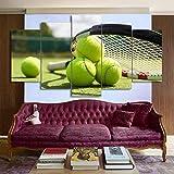 WSQQT Impressions sur Toile Salon Créatif 5 Pièces Affiche De Raquette De Tennis Peinture De DécorationModerneImage Modulaire (sans Cadre) Taille A