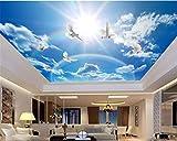 3D Raumtapete Benutzerdefiniertes Foto Blauer Himmel Weiße Taube Bunter Regenbogen Wohnzimmer...