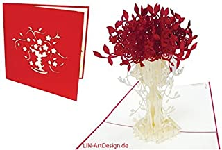 Lin Pop-Up Greeting Card Birthday Get Well Thank you cards Mothers Day Cards Good Luck Cards Flower, Rose