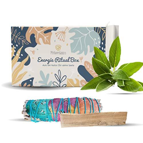 INFARBE 1x Weißer Salbei mit Rosen, 1x Palo Santo Smudge Sticks - 10 cm Räucherbündel zur energetischen Reinigung | 100% Natur