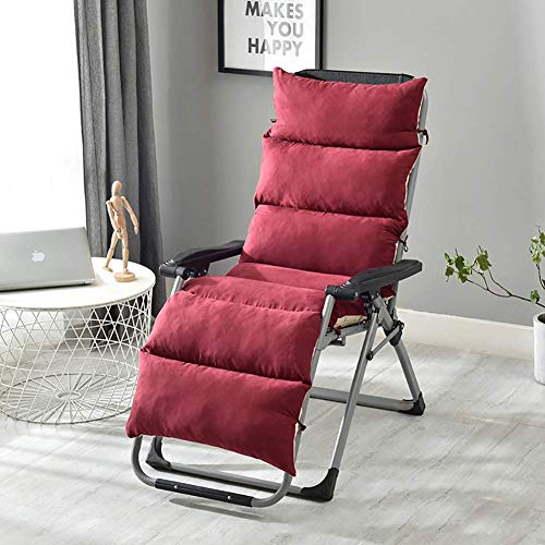 JY&WIN Micro Quilted Suede Chair Pads, Lace-up Rocking Chair Pad, Long Chair Pad Pad, Upholstered Chair Pad Living Room Chair Cushion Wine Red 175x50x5cm