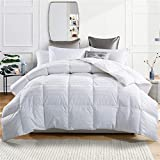 puredown Goose Down Comforter 600 Fill Power Cotton Shell 500 Thread Count Stripe, Full/Queen, White