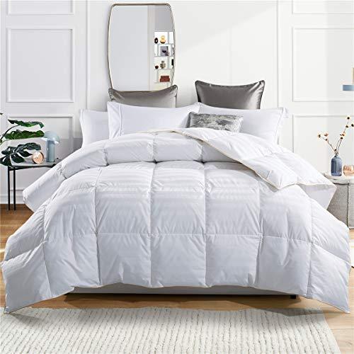 puredown Comforter Goose Down Comforter-600 Fill Power Cal King-Cotton Shell 500TC-Stripe White, King/Cal King