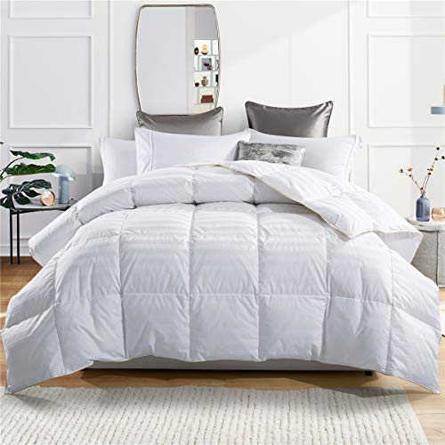 puredown Goose Down Comforter 600 Fill Power Cotton Shell 500 Thread Count Stripe, Full/Queen, White