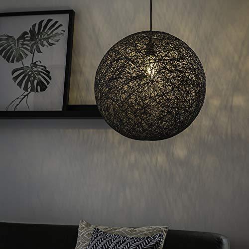 QAZQA Design/Landhaus/Vintage/Rustikal Design Hängelampe grau - Corda 45 / Innenbeleuchtung/Wohnzimmerlampe/Schlafzimmer/Küche Papier/Tau/Stahl Rund/Kugel/Kugelförmig LED geeignet E27
