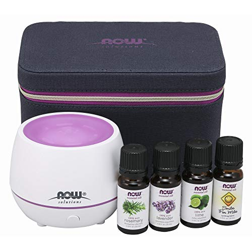 NOW Essential Oils, Gift Case, Includes; Mini Aromatherapy Diffuser, 4 x 10ml bottles: Lavender, Lime, Rosemary and Smiles for Miles Essential Oil Blend With Child Resistant Caps