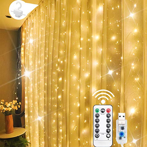 Window Curtain String Lights, 300 LED 8 Lighting Modes Fairy Lights Remote Control USB Powered, Waterproof Lights for Chrismas Bedroom Party Wedding Home Garden Wall Outdoor Indoor Warm White