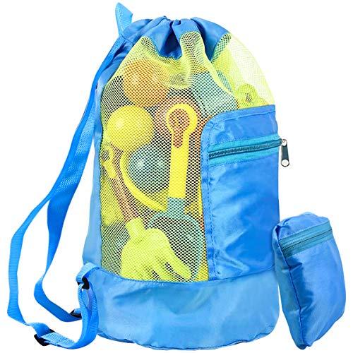 WEONE Strandspielzeug Tasche, Faltbare Strandtasche für Kinder Sandkasten Spielzeug, Rücksack Beutel Netztasche Mesh Beach Bag mit Schultergurt für Jungen Mädchen Familie Outdoor Urlaub (Blau)
