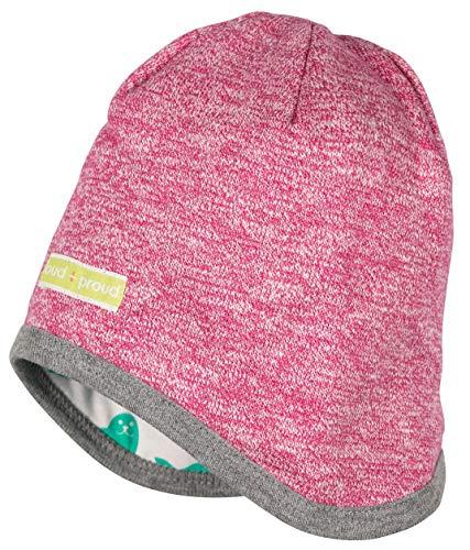 loud + proud Baby und Kinder Mütze Melange Material aus Bio Baumwolle, GOTS Zertifiziert, Berry, 86-92