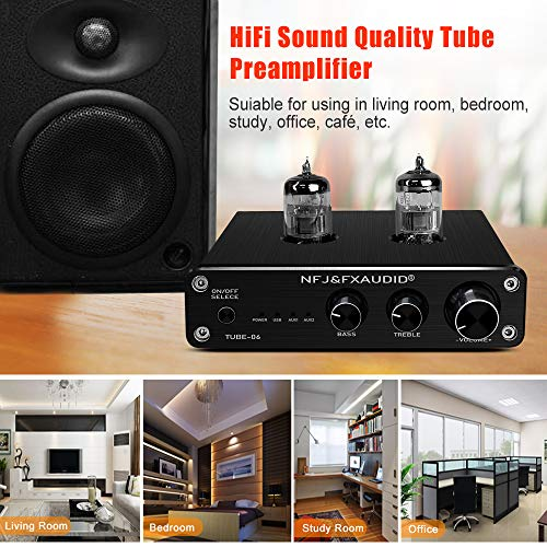 FX AUDIO Tube Preamp TUBE-06 HiFi Home Audio Stereo HiFi 6N3 Vacuum Tube Preamplifier for Home Theater Audio Player System CM6653 with Sound Card with Bass Treble Control RCA/USB/AUX Input (Black)