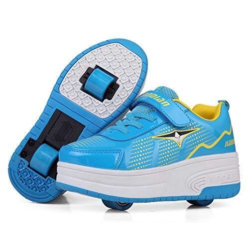 LHZHG Roue Chaussures de Sport Chaussures de Skate à roulettes Chaussures roulettes Fille Et garçon Entraînement Roller Skate Chaussures avec roulettes Doubles Bouton Poussoir Ajustable