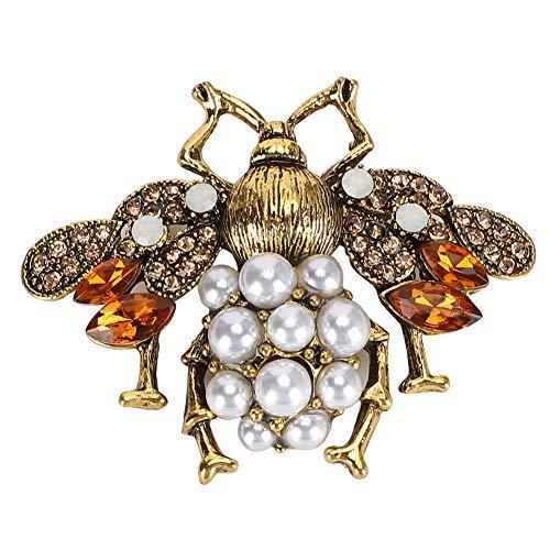 Garosa Brosche Dekoration mit Strass und Perle Bienenform Antike Gold Anstecknadel für Schal Kleidung Dekoration Zubehör