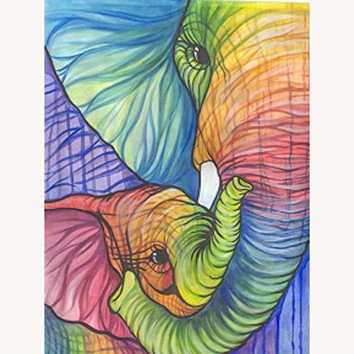 5D Diamond Painting DIY Kit Round Diamond Art-Oil Painting Elephant 35x45cm Crystal Rhinestone Bordado Punto de cruz Art Craft Home Decoración de la pared