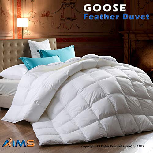 AIMS - Edredón de plumas de ganso y plumón de pato cosido de calidad de hotel, suave e hipoalergénico para cama individual, doble, king y superking, Edredón de plumas de ganso., Superking