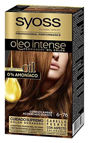 Syoss Oleo Intense - Tono 6-76 Cobrizo Ámbar – Coloración permanente sin amoníaco – Resultados de peluquería – Cobertura profesional de canas