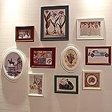OLDJTK 10 Paquetes de Madera Maciza Marco de Fotos Juego de Pared Marcos de Cuadros Collage, Sala de Estar TV Sofá Restaurante Fondo Pared Combinación (Color : A)