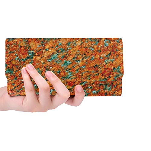 Unique Custom Hard Rock Granular Structure Quartz Feldspar Women Trifold Wallet Long Purse Credit Card Holder Case Bolso