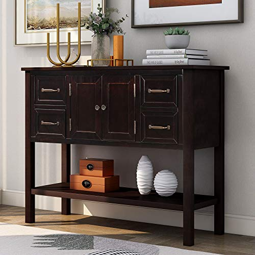 P PURLOVE Console Table Buffet Table Wood Buffet Storage Cabinet with Drawer and Bottom Shelf, Buffet Server for Living Room Kitchen Dining Room Furniture (Espresso)