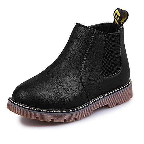 DADAWEN Boys & Girls Waterproof Outdoor Side Zipper Lace-Up Leather Winter Snow Ankle Combat Boots Black US Size 9.5 M Toddler