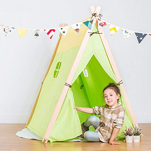YADSHENG Children's Play Tent Teepee Tent for Kids Children Play Tent Suitable for Indoor and Outdoor The Best Gift Play Tent for Kids Tent (Color : Green, Size : 130x110x130cm)