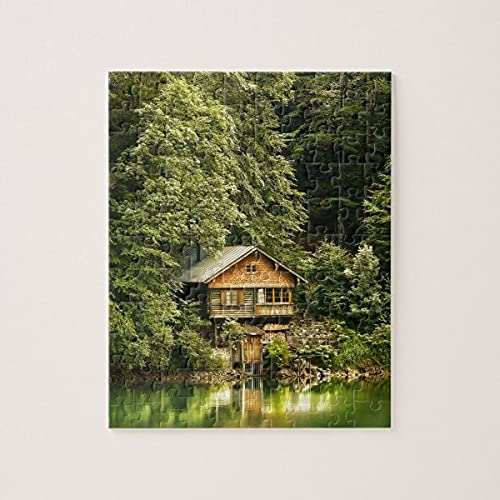 Cabin Lake House Jigsaw Puzzles 1000 piezas desafiantes y educativos, rompecabezas de pintura abstracta para niños y adultos