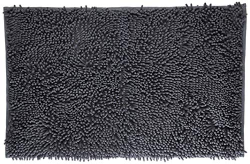 "VDOMUS Soft Microfiber Shag Bath Rug, Extra Absorbent and Comfortable, Anti-slip,Machine-Washable Large Bathroom Mat, 32"" x 20"", Grey"