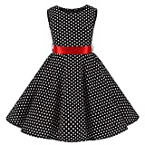 Girls 50s Vintage Sleeveless Flower Dress Casual Crew Neck Floral A-Line Party Polka Dot Dress 4-5Years(3002-120)