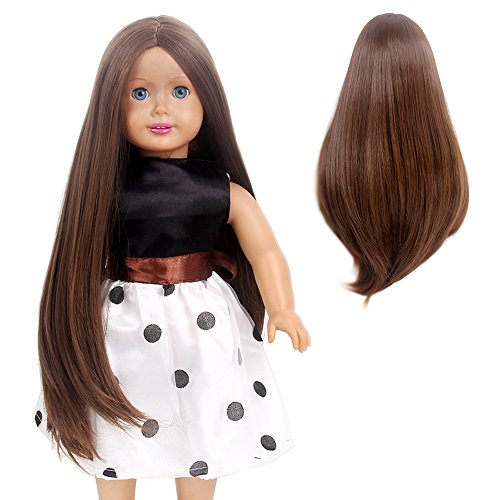 STfantasy Doll Wig for 18 Inches AG OG Doll Girls Gift Brown Long Straight Synthetic Hair
