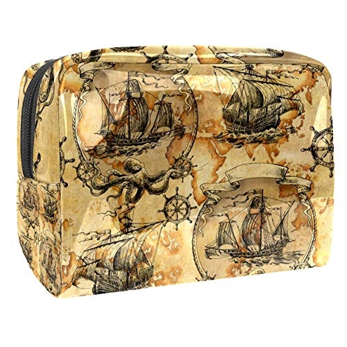 Maquillage Cosmetic Case Multifunction Travel Toiletry Storage Bag Organizer for Women - Nautical Map Retro