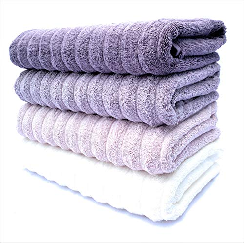 The Best Turkish Towels - 100% Turkish Cotton, Ultra-Soft, Fluffy, Absorbent, Durable, Eco-Friendly, Luxurious - Machine Washable – Trendy Colors (4 pcs Bath Towel Set, Multi-Color)