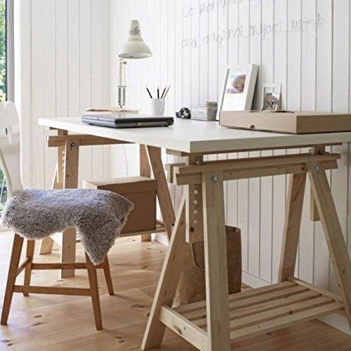 Ikea Linnmon White Desk Table 59x30' with 2 Beech Wood Brown Trestle Shelf...
