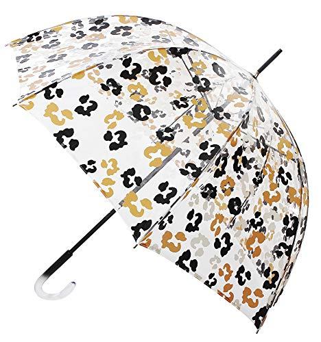 Original Paraguas VOGUE Transparente Estampado. Elige uno de Sus Cuatro exclusivos Dibujos. con Sistema antiviento. (Estampado Animal Print)