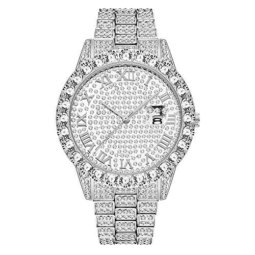 Orologio da uomo unisex con cassa rotonda con diamanti, orologio da uomo, orologio hip-hop, orologio Bling Bling, orologio ghiacciato, diamanti simulati da laboratorio