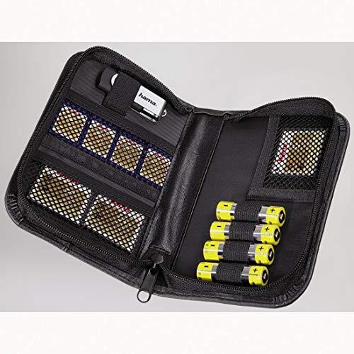 Hama Speicherkarten-Tasche für 4 Speichermedien, 4 Batterien, 3 Adapter, Schwarz, Universal