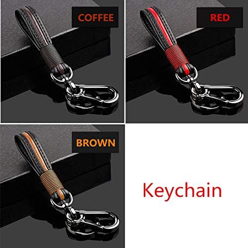 YSQQ Para Funda de Cuero Flexible Resistente al Desgaste Vintage Top Layer para Hyundai Kia K3 Nueva K2 Sportage Kx5 Forte Kx3 Smart Key,Llavero de café