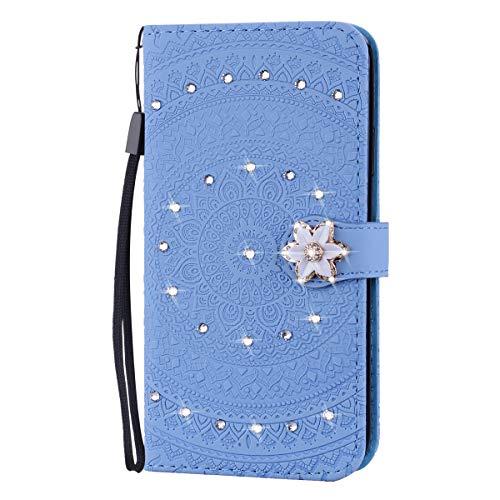 Tosim [Huawei P10 Lite Hülle Klappbar Leder, Brieftasche Handyhülle Klapphülle mit Kartenhalter Stossfest Lederhülle für Huawei P10Lite - TOHME030558 Blau